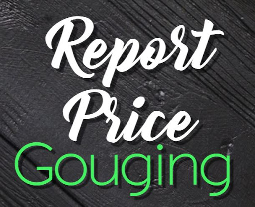 Price Gouging Black background  white letters - green