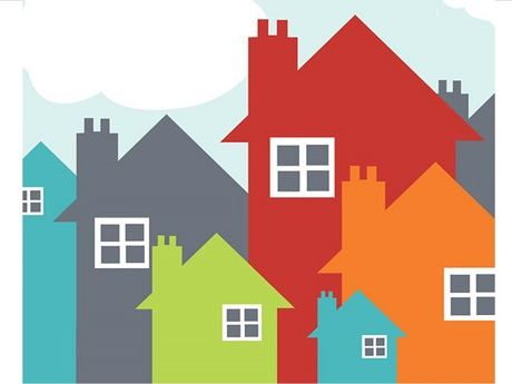 housing image, multiple houses of various sizes and colors
